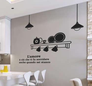 Adesivo decorativo da parete per la casa con il design di articoli da cucina e testo. Disponibile in diversi colori e dimensioni.