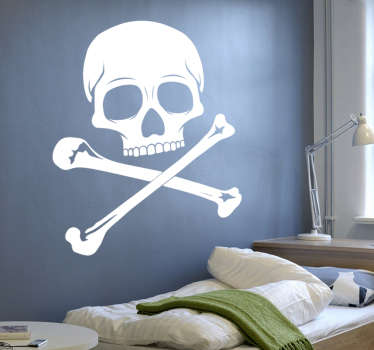 A skull wall sticker that never gets old. Fantastic decal to decorate any room of the house, your bike or you car! This monochrome skull and cross bones decal comes in different sizes and colours, but can be customised to individual taste for it to fit perfectly wherever it is placed.