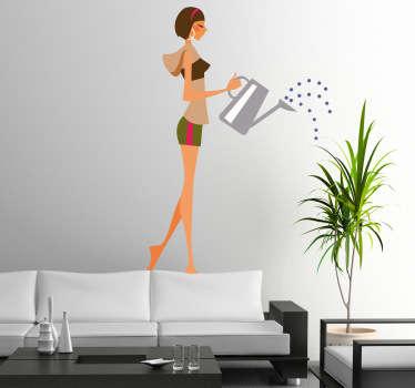 Meisje geeft planten water sticker