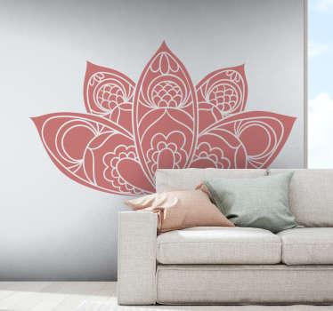 Lotusblume Mandala Wandaufkleber Design für Heim- und Büroraumdekoration. Es ist in verschiedenen Größen und Farboptionen erhältlich.