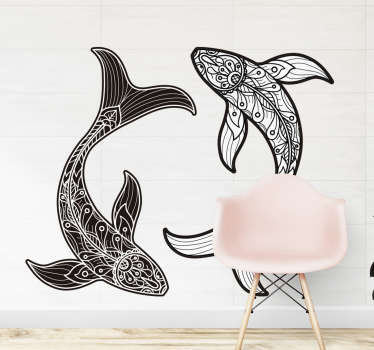 Decorative home wall sticker with the design of fish in mandala prints. An ideal decoration for a living room space. Choose it in any size desired.