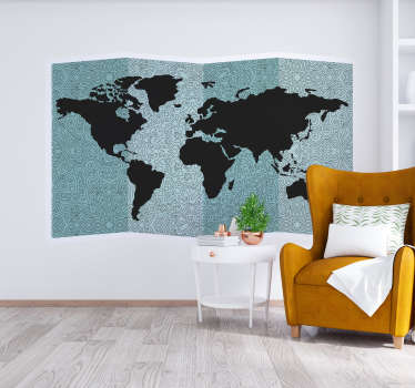 Decorative home wall sticker design of world map on a mandala prints background. Choose it in the best suitable size for a space.