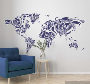 World map wall sticker with the design texture of an octopus. It comes in different size options for any desired space. Easy to apply.