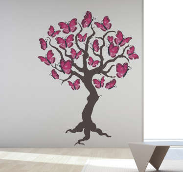 Decorative home wall art sticker with the design of tree with butterflies as leaves and flowers. An ideal decoration for a living room space.