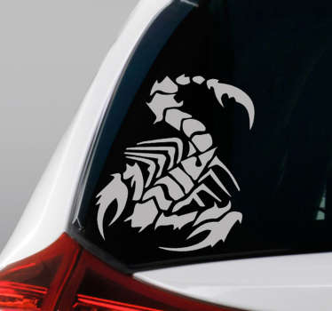 Decorative car vinyl sticker with the design of a scorpion. It is available in different colours and size options. Easy to apply.