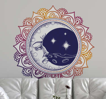 A wall art decal with the design of a colorful mandala hosting the sun and the moon on it background.  It comes in different size options.