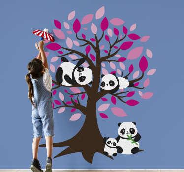 Tier Wandaufkleber mit dem Entwurf eines Baumes mit Zweigen und Blumen. Eine ideale Dekoration für Kinderzimmer. Wählen Sie es in einer gewünschten Größe.