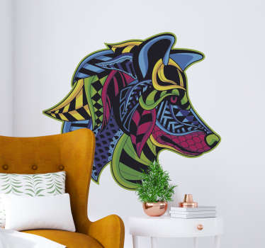 Decorative home wall decal with the design of a wolf head in an amazing colorful style. Choose it in the best suitable size.