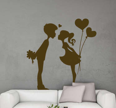 Love home wall sticker with the silhouette design of two teenage kissing . Buy it in one of the option colours and sizes.