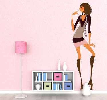 Adhésif mural représentant une femme au style moderne vêtue d'une mini jupe et de bottes à talons.Illustration faisant référence à l'univers de la mode.Utilisez ce stickers pour décorer votre chambre.