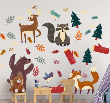 カラフルな外観の植物や花を持つさまざまな漫画の動物がたくさんいる動物の壁のステッカー。子供部屋のための理想的な装飾。