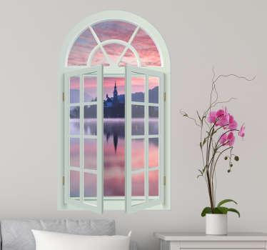 Okrasna okenska nalepka blejene cerkve v sloveniji v 3d videzu z vizualnim učinkom. Na voljo v poljubni velikosti. Enostaven za uporabo.