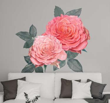 Hermoso vinilo decorativo de flor de rosas bonitas para decorar cualquier espacio en el hogar para iluminar el ambiente ¡Envío a domicilio!