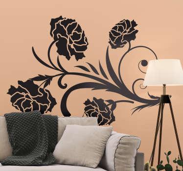 Adesivo decorativo garofano fiore pianta silhouette wall sticker per soggiorno. Disponibile in diversi colori e dimensioni. Facile da applicare.
