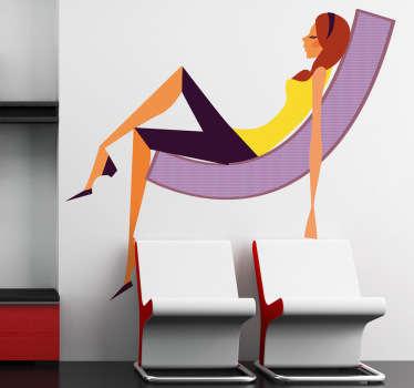 Adhésif mural représentant une femme au style moderne étendue sur une grande chaise.Illustration faisant référence à l'univers de la mode.Choisissez ce stickers pour décorer votre chambre ou salon.