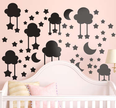 Illustrative wall sticker for kids room decoration with features of stars, moon and cloud. Available in different colour and sizes.