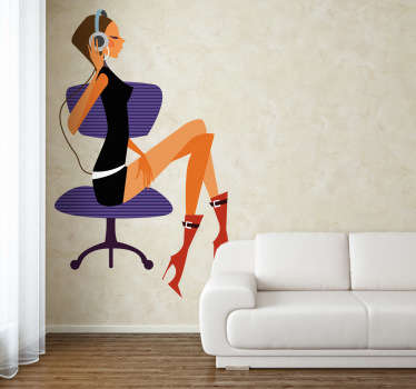 This wall sticker shows a stylish young lady sitting elegantly and listening to music. Lovely decal to decorate in your home or shop.
