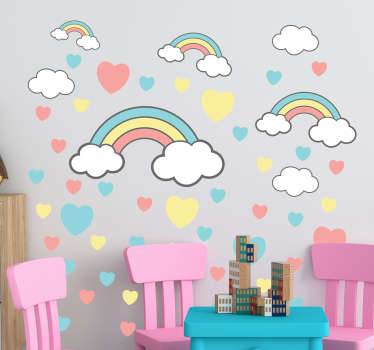 Decorative children wall art sticker with illustrative features of rainbow, cloud, and heart in pretty multi colours. Choose it in any size you want.