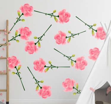 Conception de stickers art mural fleur décorative de fleurs de clou de girofle rose pour embellir l'espace de la maison. Choisissez-le dans la meilleure taille appropriée. Facile à appliquer.