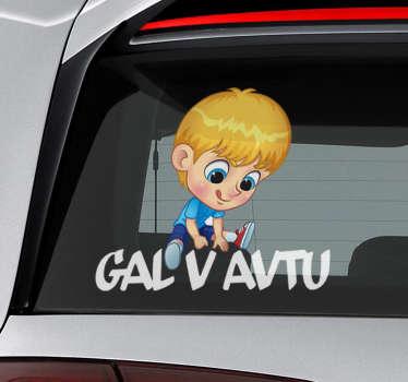 Okrasna nalepka za dojenčke na sliki otroka in besedilo, ki opozorita cestne spremljevalce o otroku v vozilu. Kupite ga v poljubni velikosti.