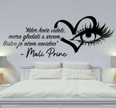Okrasna nalepka za steno doma, oblikovana z besedilom in podobo oči. Enostaven za uporabo in na voljo v poljubni velikosti.
