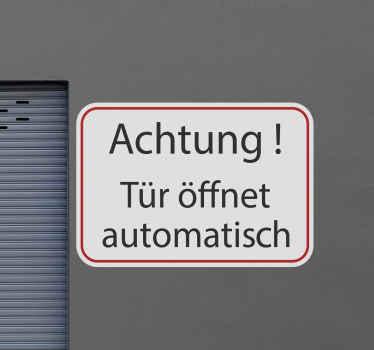Türanweisung Schild Aufkleber zum Anbringen auf einer ebenen Fläche im Geschäfts- und Werkstattbereich. Die Größe ist frei wählbar. Einfach anzuwenden.
