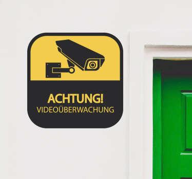 """Videokamera Sicherheitsschild Aufkleber zum Anbringen der Wandoberfläche zu Hause oder an öffentlichen Orten. Es gibt einen Hinweise mit der Aufschrift """"Achtung Videoüberwachung""""."""