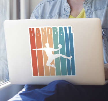Decorative handball laptop decal created with a colorful  silhouette of a player. Choose it in the best size option. Easy to apply.