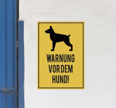 Hundewarnschild Aufkleber zum Anbringen an Türen oder Wandflächen im Haus oder an öffentlichen Orten, an denen Gunde vorhanden sind, um Menschen zu warnen.