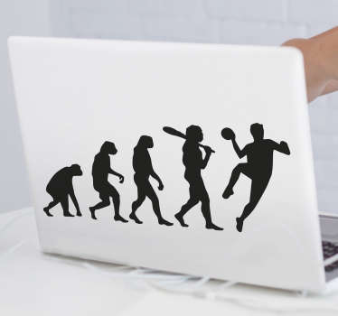 Laptop vinyl sticker with the design of a handball evolution illustration from primitive to professional. Available in different colous and sizes.