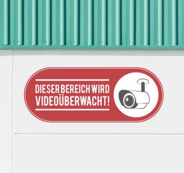 """Vinyl-aufkleber mit dem Text '' dieser Bereich wird videoüberwacht"""". Wählen Sie es in der am besten geeigneten Größe. Einfach anzuwenden."""