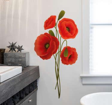 Vinilo decorativo para de baño con el diseño de amapolas rojas con un diseño precioso y exclusivo que te encantará mirar ¡Envío a domicilio!