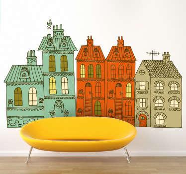 Naklejka dekoracyjna kolorowe budynki