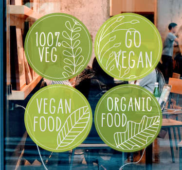 Gastronomy business shop front window decal with the design of vegan organic food quality in percentage. Easy to apply and available in any size.