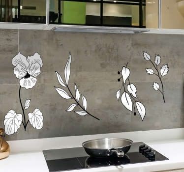 キッチンキャビネットまたは平らな面を飾るために装飾用の花のデザインプリントが付いたキッチンウォールアートステッカー。さまざまなサイズでご利用いただけます。