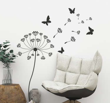 Decorative home wall sticker with the design of dandelion flower plant and butterflies. Available in different colours and sizes.