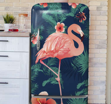 Decorative fridge door vinyl decal with the design of a flamingo bird. A complete fridge door wrap. Customize it to fit the dimension of the surface.