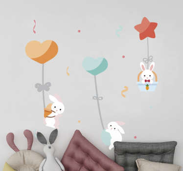 Decorative home wall sticker with the design of rabbits and beautiful features for children bedroom space. Easy to apply.