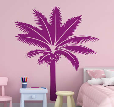 Autocolante decorativo de silhuetas de uma palmeira. Ele vem em diferentes opções de tamanho. Fácil de aplicar.