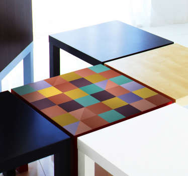 Furniture vinyl sticker with the design of multi color squares. Ideal for both home and preschool furniture surface. Easy to apply.