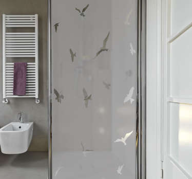 Shower screen sticker with the design of flying birds . Customize the size dimension needed for a decoration. Easy to apply with no bubble effect.