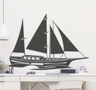 Nautische Bootswandaufkleber zum Verzieren jeder flachen Wandoberfläche, um eine maritime Atmosphäre darauf zu schaffen. In verschiedenen Größen erhältlich.