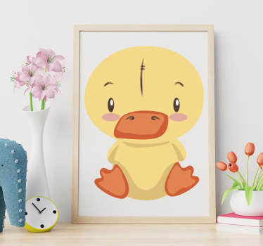 Decorative bird wall sticker for children bedroom space with the design of a cute colorful duckling. Available in any required size.