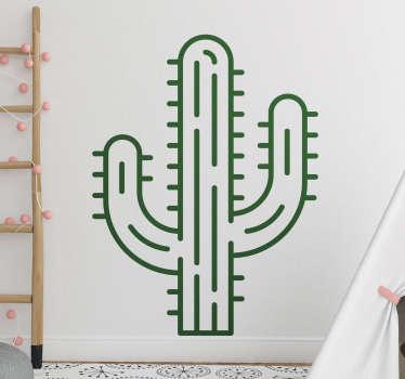 Autocolante decorativo de plantas com o desenho de um cacto gigante. Fácil de aplicar em qualquer superfície plana. Ele vem em diferentes opções de tamanho e cor.