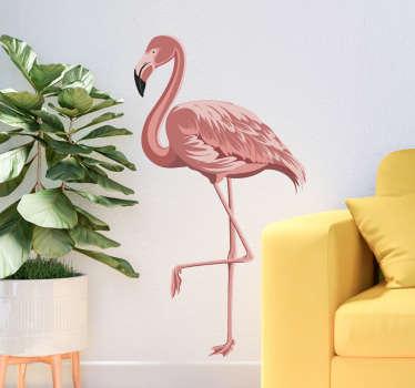 Stickers muraux à la maison avec la conception d'un bel oiseau flamant rose. Une decoraiton idéale pour un espace salon. Acheter dans n'importe quelle taille adaptée à l'espace souhaité