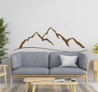 Sketch drawing nature wall sticker with the design of mountain to decorate any flat surface to create a natural and calm peaceful feel.