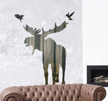 A decorative home wall sticker with the design of a huge deer in the forest in a translucent texture and background. Buy it in any size desirable.