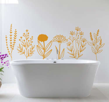 Decorative home wall sticker for bathroom with the design of ornamental flower.  Available in different colour and sizes.