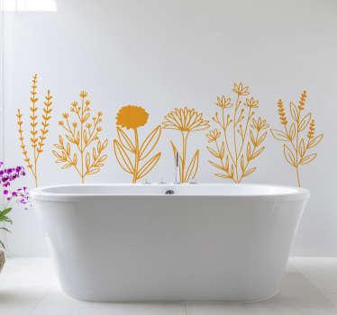 Dekorativer Hauswandaufkleber für Badezimmer mit dem Design der Zierblumen. In verschiedenen Farben und Größen erhältlich.