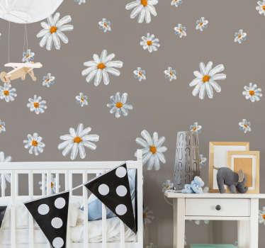 Adesivo decorativo da parete per la casa con il disegno di stampe di fiori margherita. Abbellire qualsiasi spazio con esso per creare l'atmosfera della caduta dei fiori.